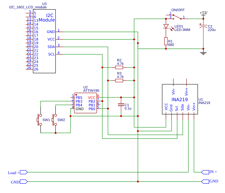 INA219+Attiny85 measurement unit schematic