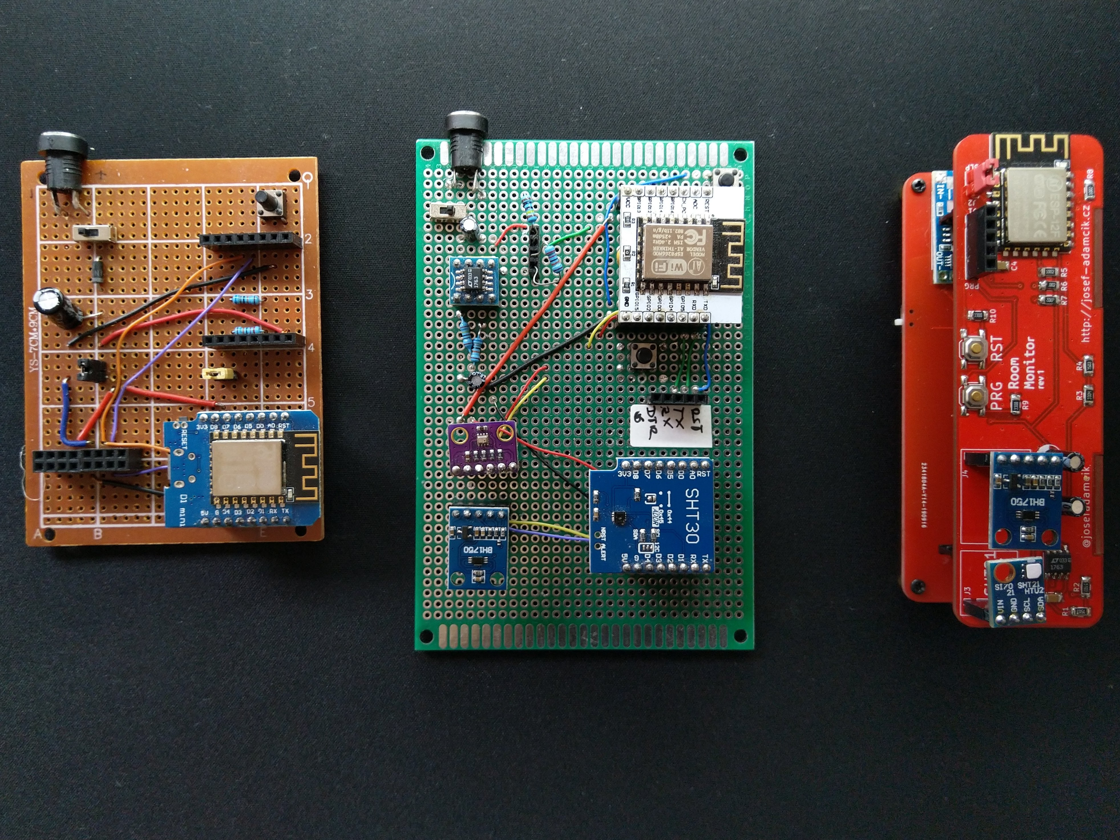 RoomMonitor - prototypes and the PCB version