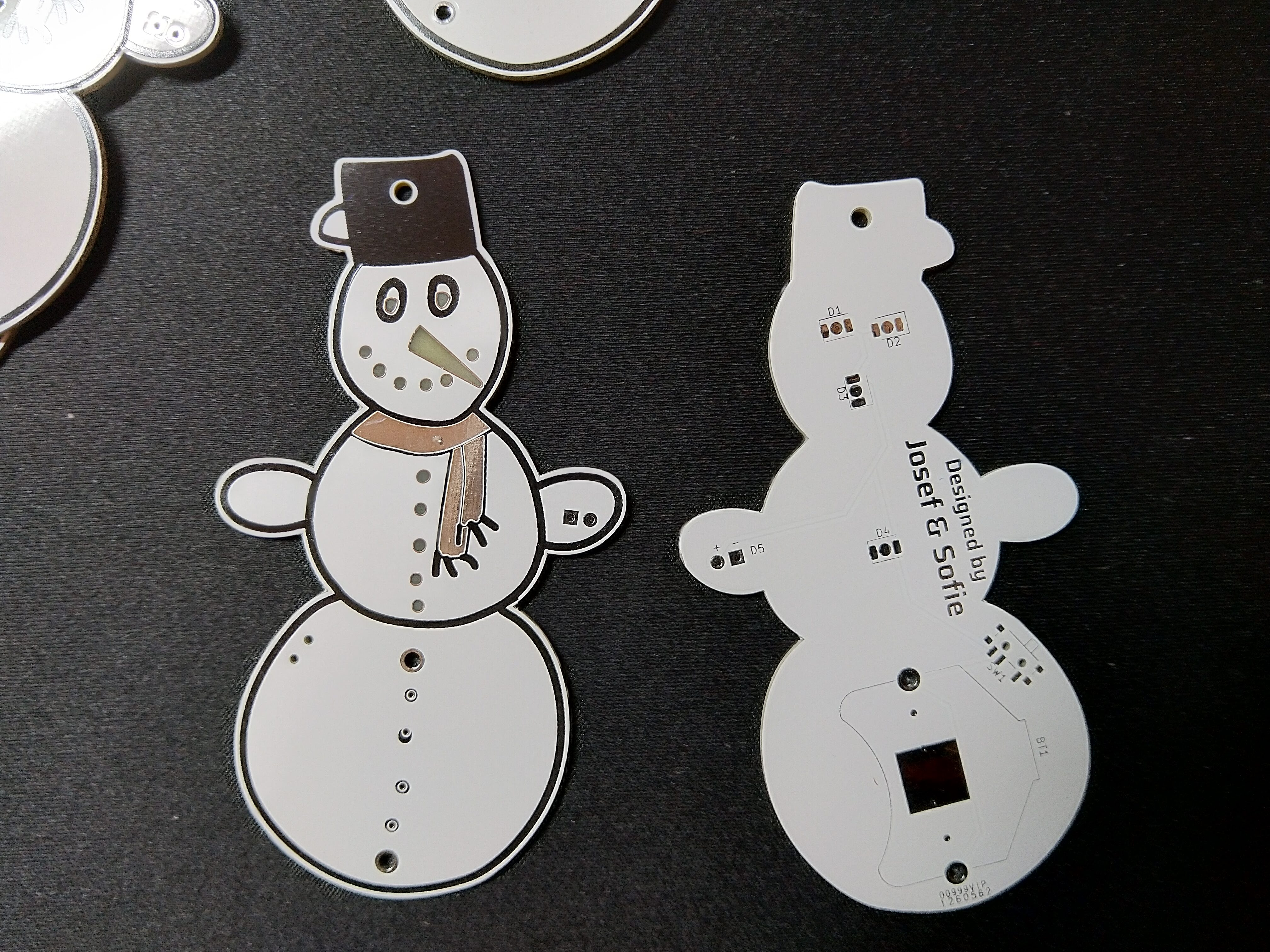 Snowman PCBs - detail front and back