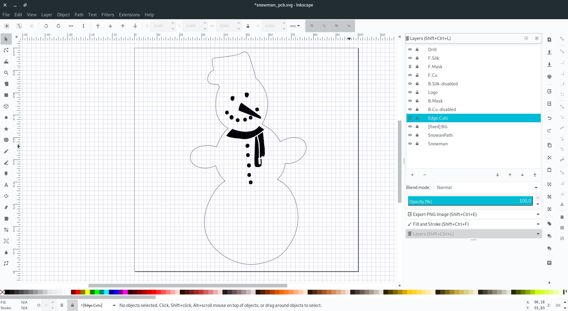 Snowman PCB design in Inkscape - only F.Mask and Edge.Cuts